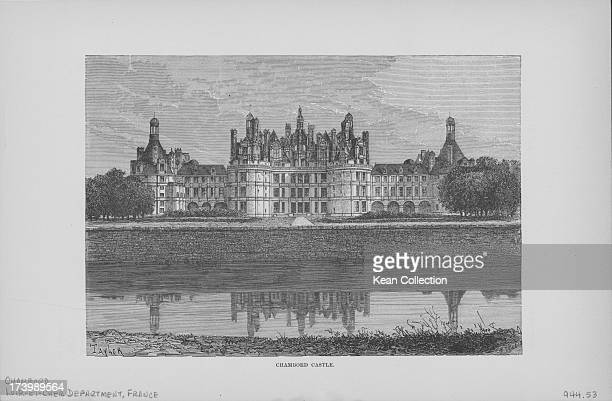 Engraving of French buildings and landscapes; Chateau de Chambord, as viewed from across the lake, with distinct French Renaissance architecture...