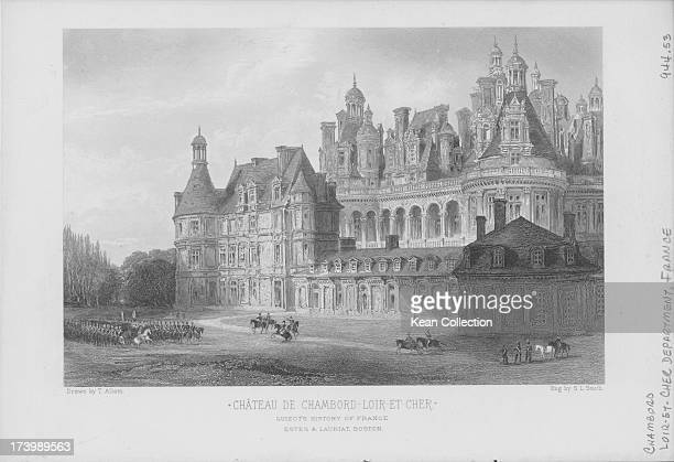 Engraving of French buildings and landscapes; Chateau de Chambord, engraved by L. Smith, with distinct French Renaissance architecture which blends...