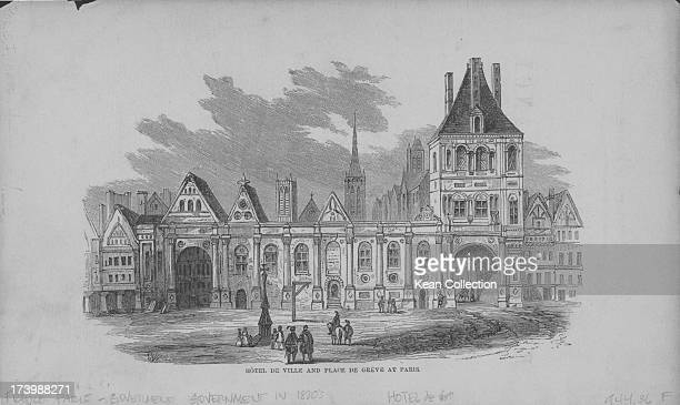 Engraving of French buildings and landscapes Hotel de Ville and the Place de Greve Paris circa 17501800