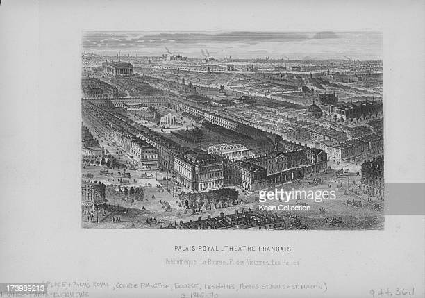 Engraving of French buildings and landscapes Panoramic view of Paris including Palais Royal and Theatre Francais in the 1st arrondissement of Paris...