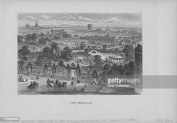 Engraving of French buildings and landscapes Parc Monceau a park situated at the junction of Boulevard de Courcelles Rue de Prony and Rue Georges...