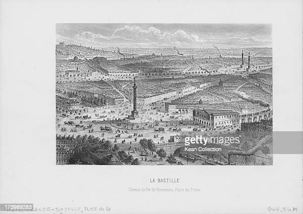 Engraving of French buildings and landscapes Place de la Bastille a square in Paris straddling 3 arrondissements of Paris with the July Column...