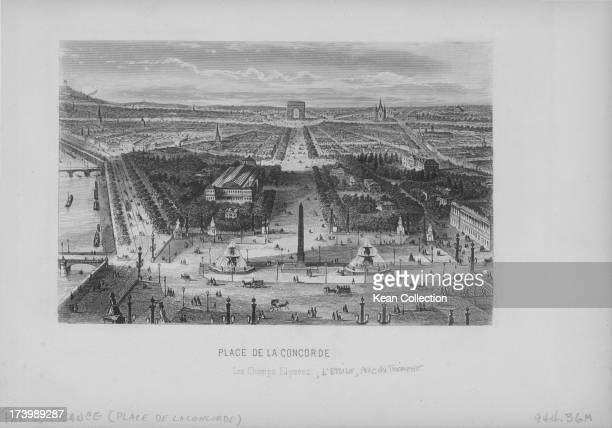 Engraving of French buildings and landscapes Place de la Concorde a public square with an obelisk and fountains with a view along the Champs Elysees...