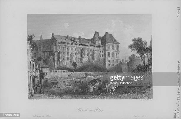 Engraving of French buildings and landscapes; The Royal Chateau de Blois, in the Loire Valley, France.