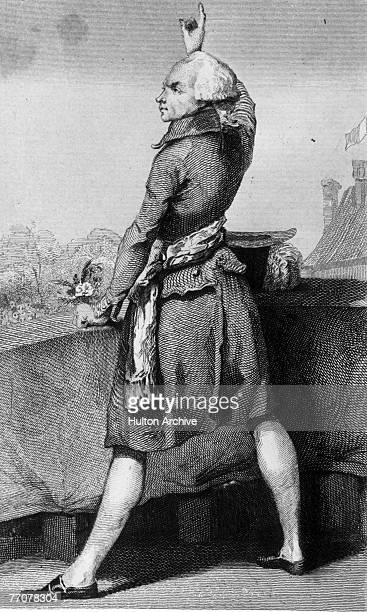 Engraving of French revolutionary Maximilien Robespierre as he stands at a balcony and makes a forceful point with one raised hand France early 1790s