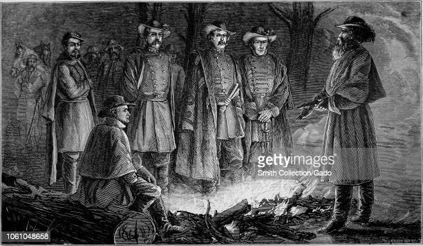 Engraving of General Albert Sidney Johnston with his officers in the night before the Battle of Shiloh from the book 'The life of General Albert...