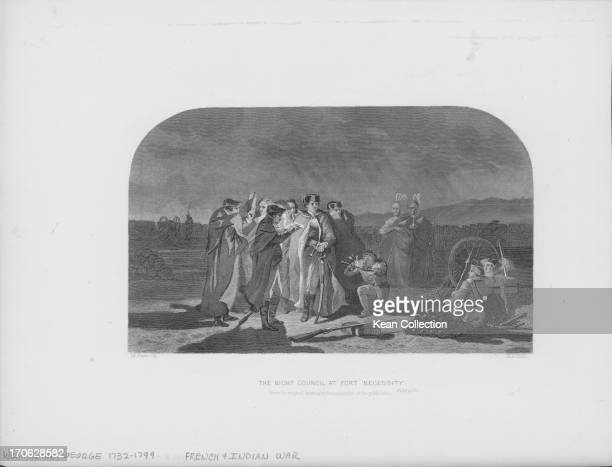 Engraving of George Washington's night council at Fort Necessity Pennsylvania during the French and Indian War prior to his surrender July 3rd 1754