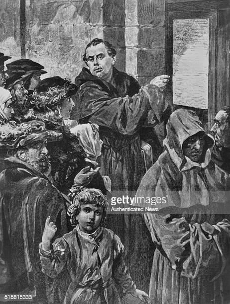 Engraving of German religious reformer Martin Luther posting his 95 Theses on indulgences on the church door at Wittenberg surrounded by onlookers...
