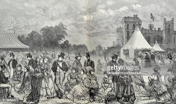 Engraving of Her Majesty's Garden Party at Windsor Castle Dated 1870