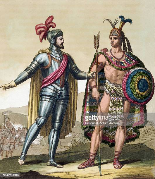 Engraving of Hernan Cortes and Montezuma II by Gallo Gallina