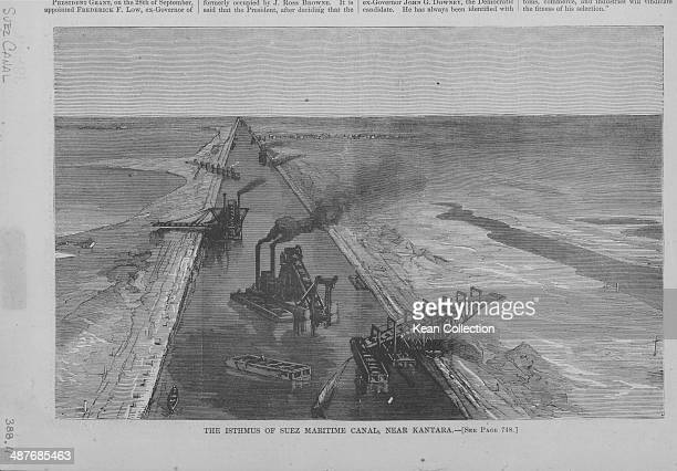 Engraving of industrial activity within the Isthmus of Suez maritime canal near Kantana Egypt circa 18501880