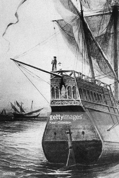 Engraving of Italian explorer Christopher Columbus standing atop the Santa Maria on his voyage to the New World 1492