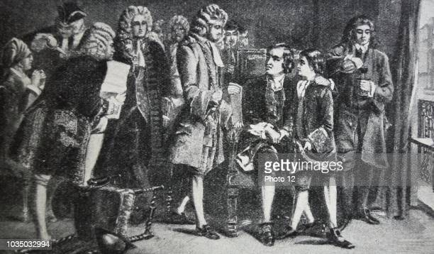 Engraving of John Dryden meeting with Alexander Pope the boy who carried on Dryden's manner of writing John Dryden was an English poet literary...
