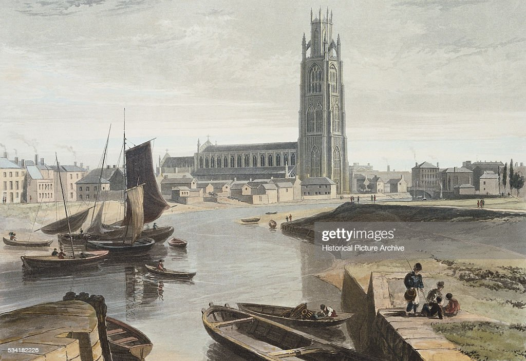Engraving of Lincolnshire: Boston, the Minster and Shipping by William Daniell : News Photo
