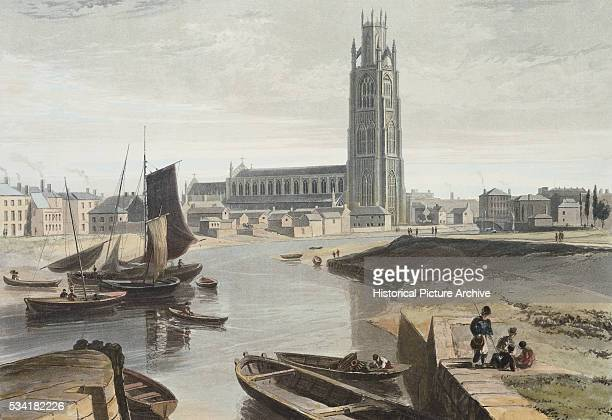 Engraving of Lincolnshire Boston the Minster and Shipping by William Daniell