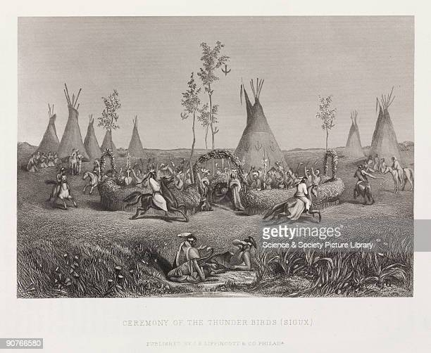 Engraving of Native Americans performing a ritual thunder and lightning were attributed to giant creatures known as thunderbirdsThe Native American...