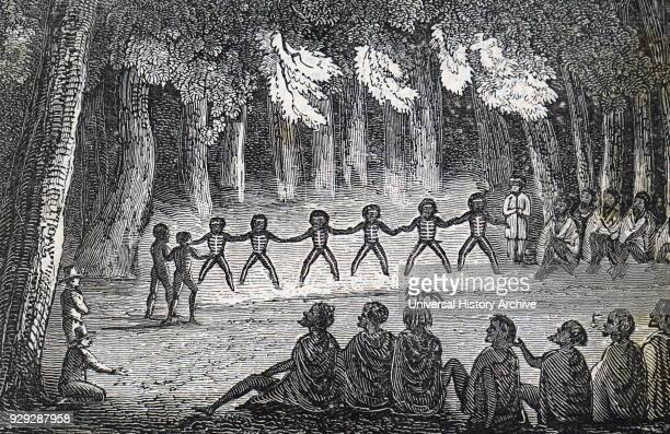 Engraving of native Australians performing a ritualistic dance Dated 19th Century