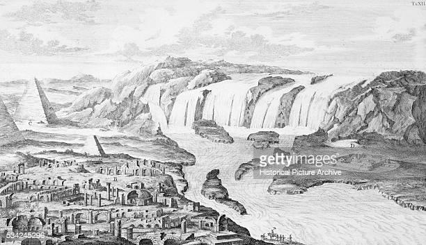 Engraving of Nile Waterfalls by Fischer von Erlach