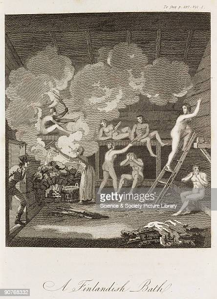 Engraving of people in a sauna from �Travels through Sweden Finland and Lapland to the North Cape in the years 1798 and 1799� by Giuseppe Acerbi