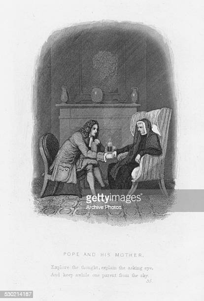 Engraving of poet Alexander Pope holding the hand of his ailing mother seated in front of a fireplace circa 1720