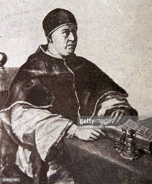 Engraving of Pope Leo X second son of Lorenzo the Magnificent ruler of the Florentine Republic he was elevated to the cardinalate Dated 16th Century