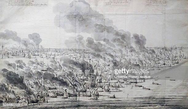 Engraving of Robert Holmes setting the Dutch Fleet on fire at Terschelling By Willem van de Velde I Dated 17th Century