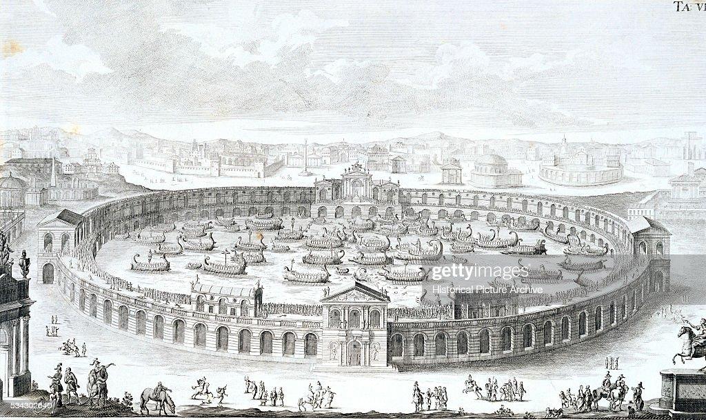 Engraving of Roman Boat Arena by Fischer von Erlach : News Photo