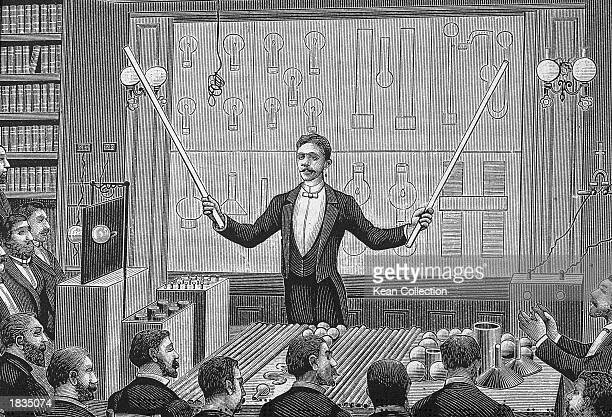 Engraving of SerbianAmerican inventor Nikola Tesla 'lecturing before the French Physical Society and The International Society of Electricians circa...