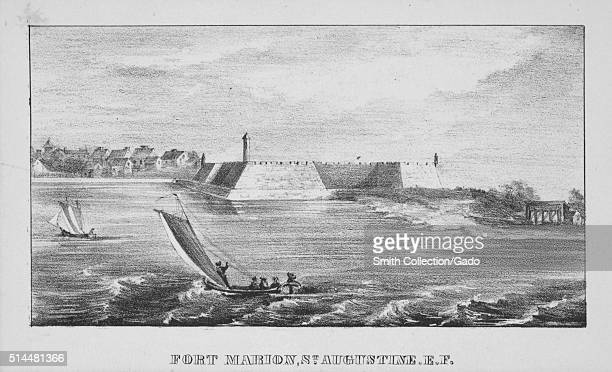 Engraving of ships sailing past Fort Marion AKA Castillo de San Marcos the oldest masonry fort in the continental United States Saint Augustine...