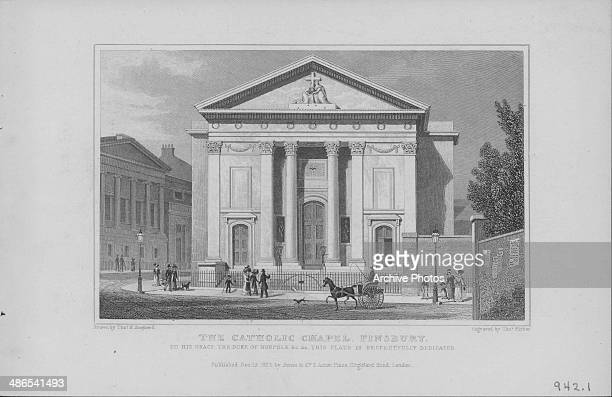 Engraving of St Mellitus Catholic Church, Finsbury Park, London, 1827. Engraved by T Barber from the original by Thomas H Shepherd.