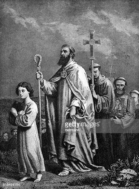 Engraving of St Patrick traveling to Tara Undated illustration