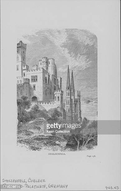Engraving of Stolzenfels Castle a neogothic hillside castle near Koblenz on the Rhine River RhinelandPalatinate in Germany circa 18501870