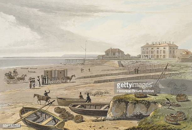 Bognor Bathing Machines and a Coach on the Beach by William Daniell