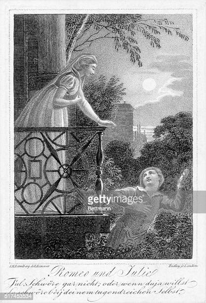 Engraving of the balcony scene from William Shakespeare's play 'Romeo and Juliet' Undated illustration