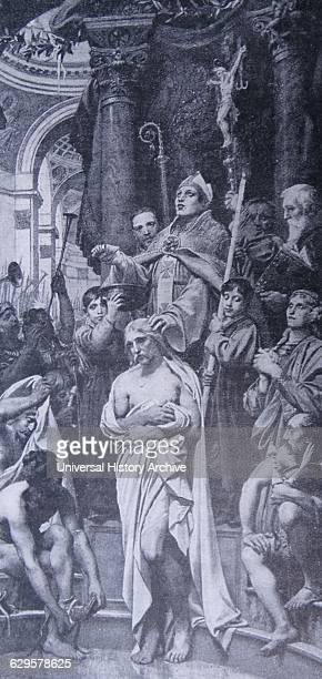 Engraving of the Baptism Clovis I first king of the Franks to unite all of the Frankish tribes under one ruler
