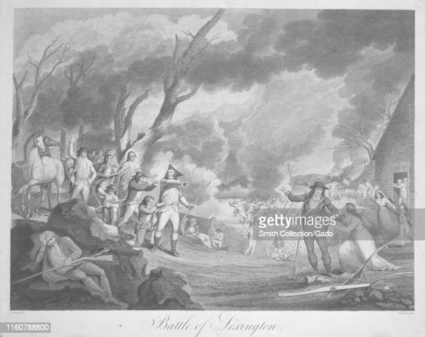 Engraving of the Battle of Lexington, the first military engagement of the American Revolutionary War, by Elkanah Tisdale, 1798.
