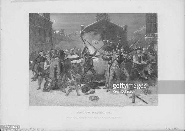 Engraving of the Boston Massacre where British Army soldiers killed five civilian men and injured six others after firing into the crowd without...