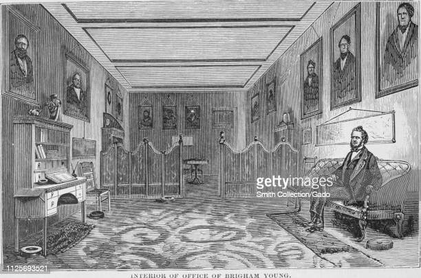 """Engraving of the Brigham Young's office in St. George, Utah, the first governor of the Utah Territory, from the book """"The Pacific tourist"""" by Henry..."""