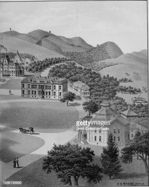 Engraving of the California State University grounds and buildings in Berkeley Califonia from the book Illustrated album of Alameda County California...