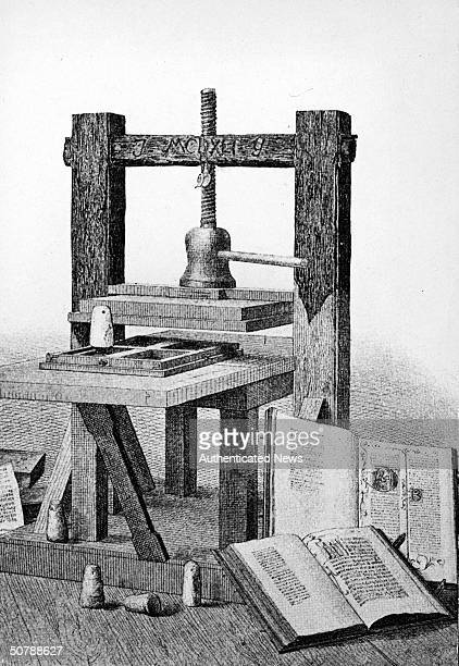 Engraving of the first printing press invented by Johannes Gutenberg 16th century