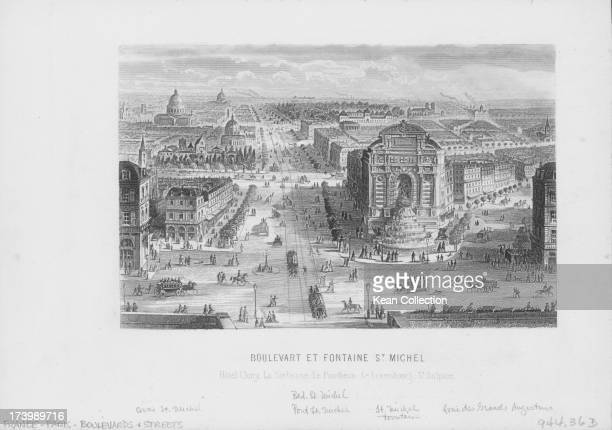 Engraving of the Fontaine SaintMichel a monumental fountain on the boulevards of Paris with a view of the Hotel de Cluny and the Parthenon France...
