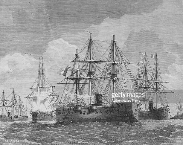 Engraving of the French naval fleet during the FrenchGerman War with the fleet anchored at Heligoland Germany 1870