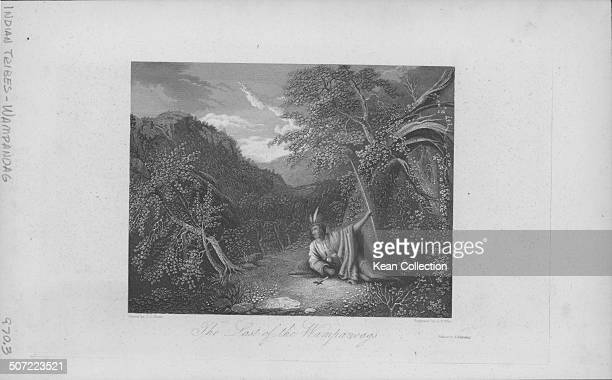 Engraving of the G L Brown painting 'The Last of the Wampanoags' depicting a Native American of the Wampanoag People in a woodland USA circa 1800...