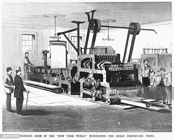Engraving of the great Perfecting Press at work in the printing room of the 'New York World' newspaper circa 1880