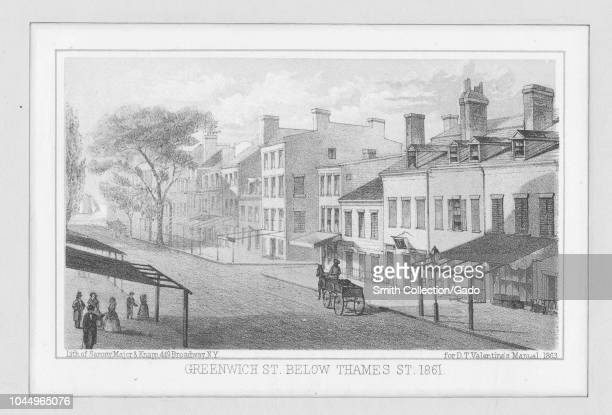 Engraving of the Greenwich Street below the Thames Street in New York with the sidewalks in front of buildings shaded by awnings 1861 From the New...