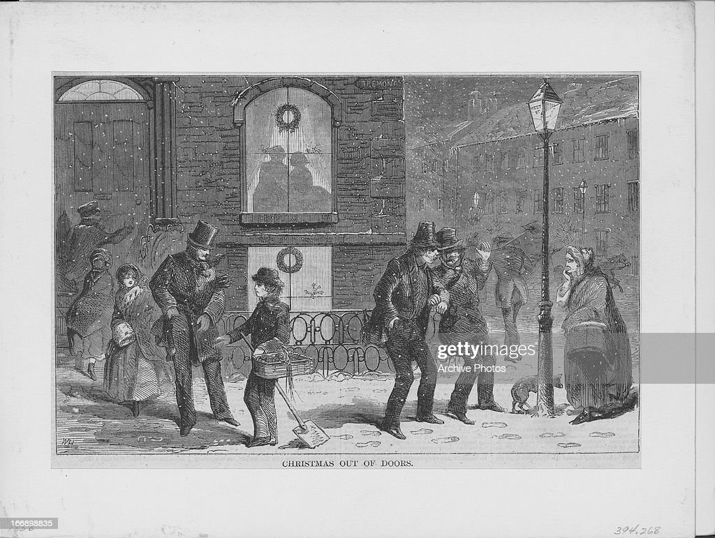 Engraving of the illustration 'Christmas out of doors' by American artist Winslow Homer, showing the harshness of a cold snowy winter on the streets, printed in Harper's Weekly in December 1858.