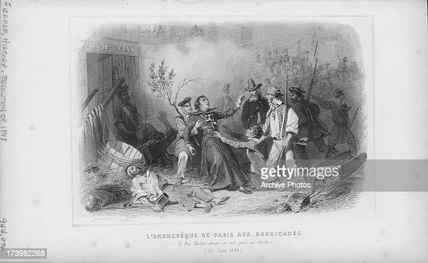 Engraving of the June Days Uprising staged by the workers of France in response to plans to close the National Workshops where the laborers and...