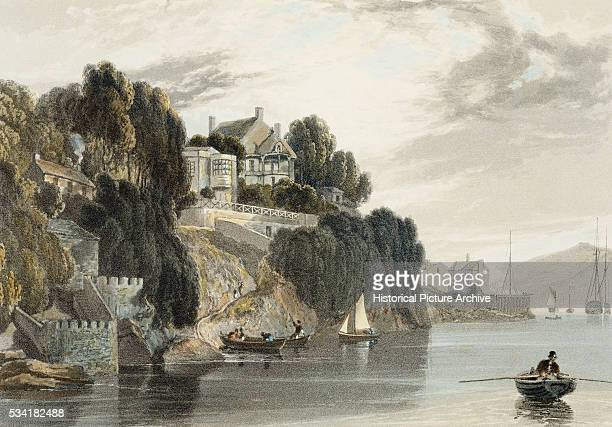 Engraving of the Left Bank of the Estuary of Devonshire Salcombe by William Daniell