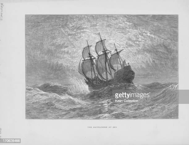 Engraving of the Mayflower the ship which transported 102 pilgrims on the illfated voyage from Southampton to the 'New World' in America 1602