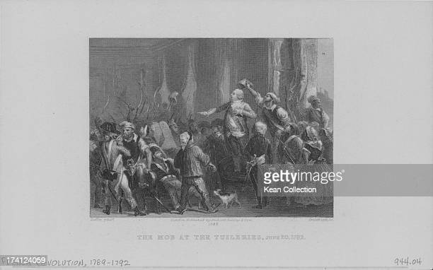 Engraving of the mob at the Tuileries during the French Revolution, Paris, France, June 20th 1792.